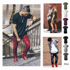 Mens Basic Extended Long T- Shirt Elongated Fashion Casual Crew Neck Hipster Tee